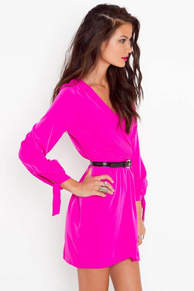 Pink dress with long sleeves